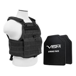 "VISM by NcSTAR PLATE CARRIER VEST WITH 10""X12' LEVEL IIIA SHOOTERS CUT 2X HARD BALLISTIC PANELS/ BLACK (Color: Black)"