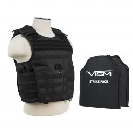 "VISM by NcSTAR EXPERT PLATE CARRIER VEST (2XL+) WITH 10""X12' LEVEL IIIA SHOOTERS CUT 2X SOFT BALLISTIC PANELS/ EXTRA LARGE/BLACK (Color: Black)"