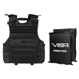 "VISM by NcSTAR EXPERT PLATE CARRIER VEST (EXTRA SMALL-SMALL) WITH 8""X10' LEVEL IIIA RECTANGLE CUT 2X SOFT BALLISTIC PANELS/ SMALL/ BLACK (Color: Black)"