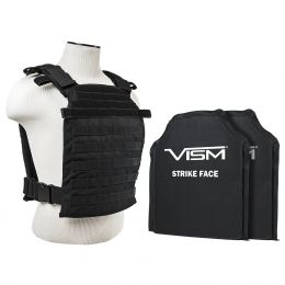 "VISM by NcSTAR LARGER FAST PLATE CARRIER  WITH 11""X14' LEVEL IIIA SHOOTER'S CUT 2X SOFT BALLISTIC PANELS/ BLACK (Color: Black)"