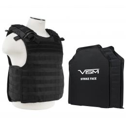 "VISM by NcSTAR QUICK RELEASE PLATE CARRIER VEST WITH 11""X14' LEVEL IIIA SHOOTERS CUT 2X SOFT BALLISTIC PANELS/ BLACK (Color: Black)"